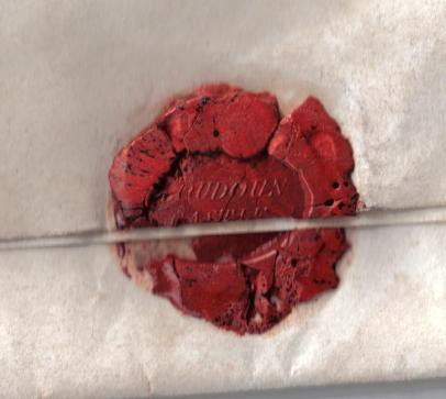 A broken wax seal on a letter from Loudoun Castle, Galston East Ayrshire, Scotland. This image is in the public domain.