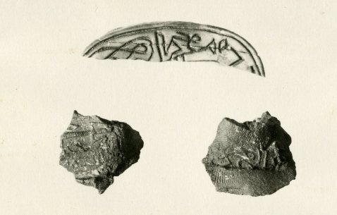Clay seal impression found under the door of the Tomb of Nespekashuty at Deir el-Bahri, Thebes, Egypt.  11th Dynasty. The Metropolitan Museum of Art 26.3.150, Rogers Fund, 1926. Permalink: http://metmuseum.org/collection/the-collection-online/search/561798