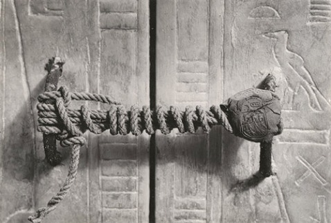 "Unbroken seal on Tutankhamun's third shrine before it was opened. Photograph taken by Harry Burton in January 1924. Published online in ""Harry Burton: Unbroken Seal on the Third Shrine"" (TAA622) In Heilbrunn Timeline of Art History. New York: The Metropolitan Museum of Art, 2000–. http://www.metmuseum.org/toah/works-of-art/TAA622. (January 2009)"